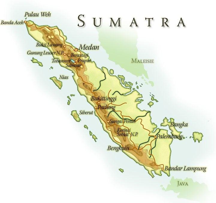 Landkaart Sumatra