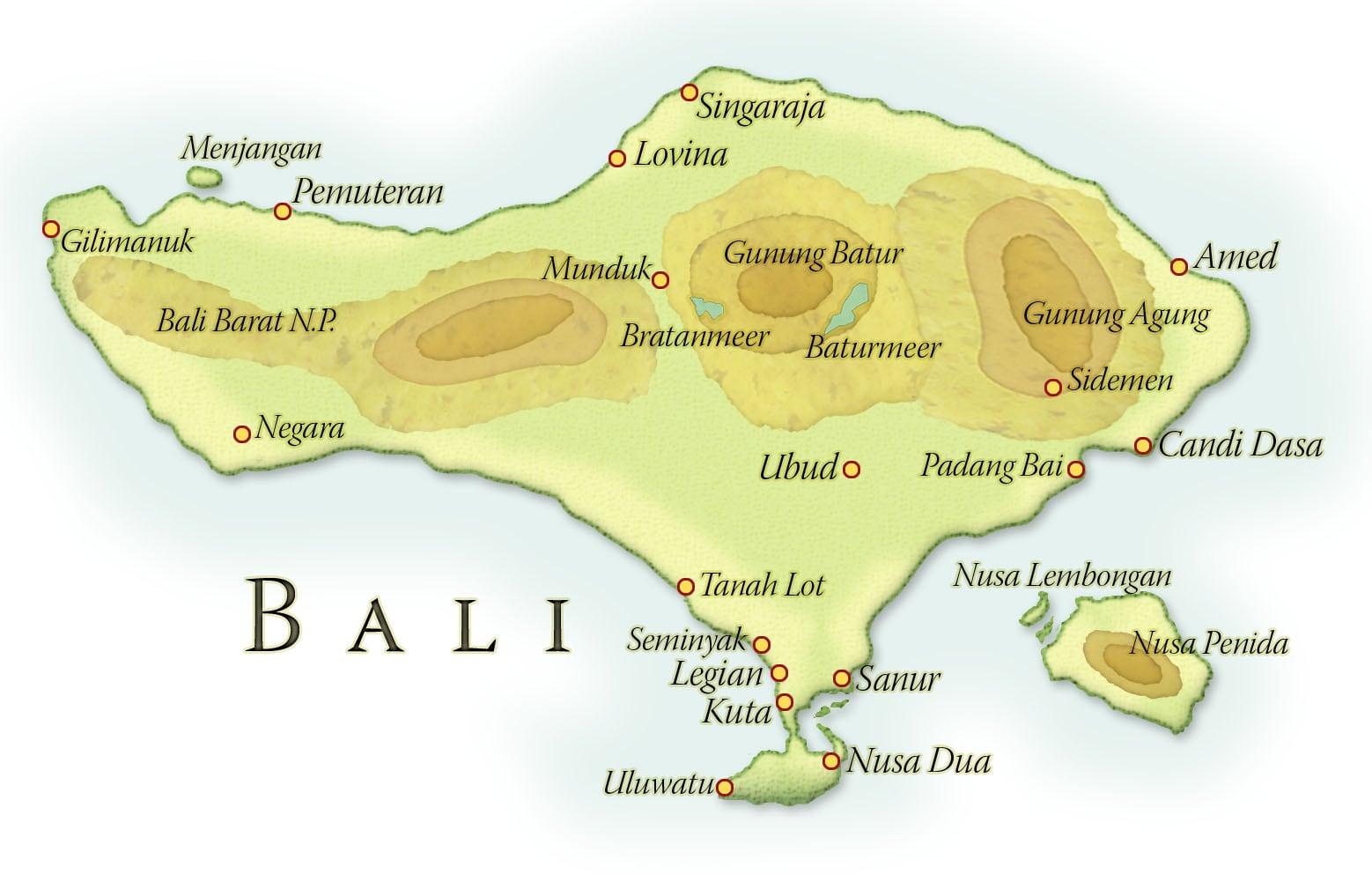 Landkaart Java, Bali, Gili Trawangan en Singapore, juli-augustus 2017