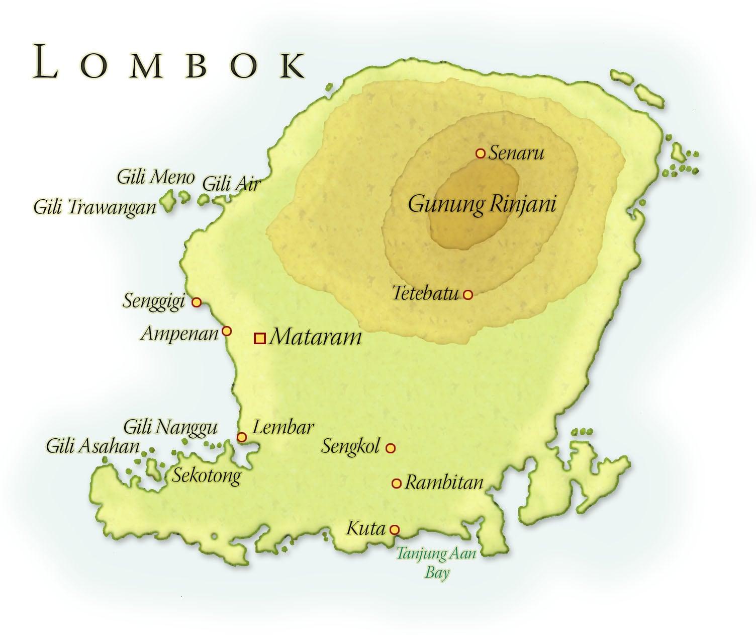 Landkaart Lombok