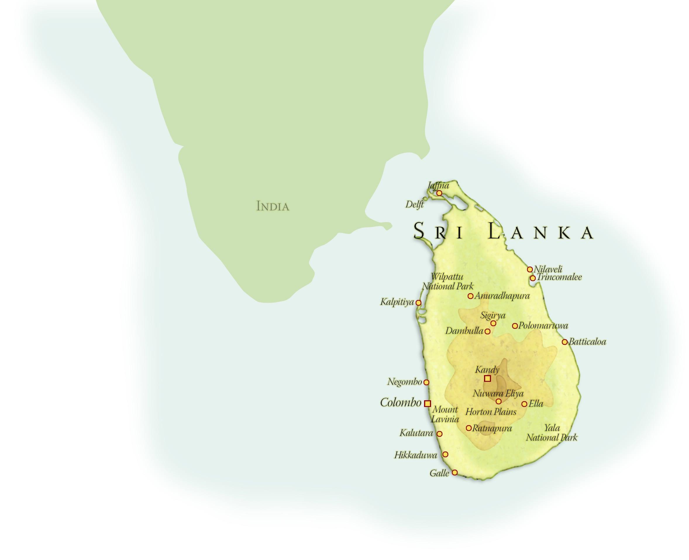Landkaart Sri Lanka