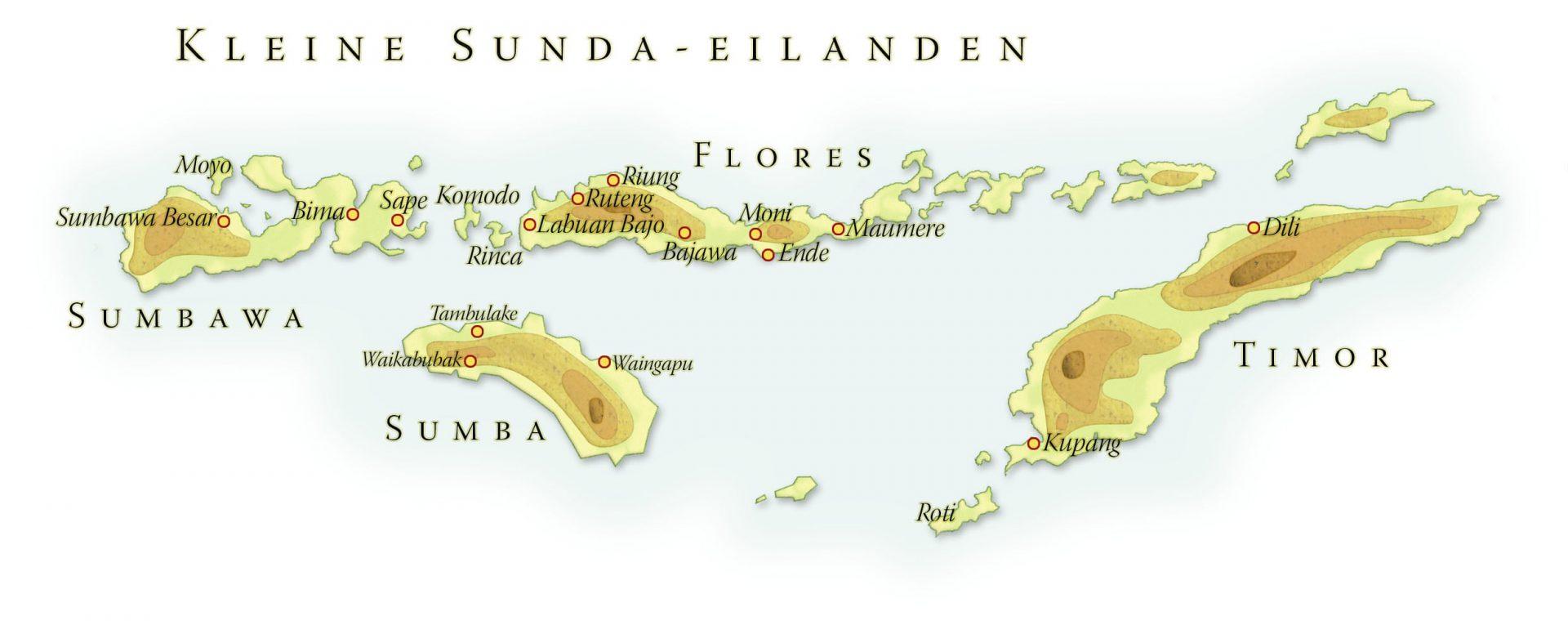 Landkaart Kleine Sunda Eilanden, april 2013