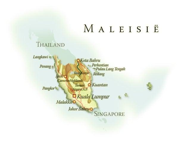 Landkaart West-Maleisië