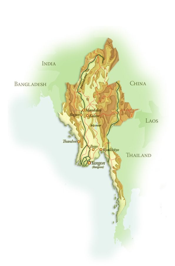 Landkaart Myanmar, januari 2018