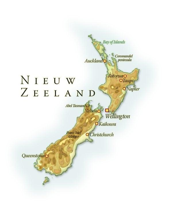 Landkaart Nieuw-Zeeland