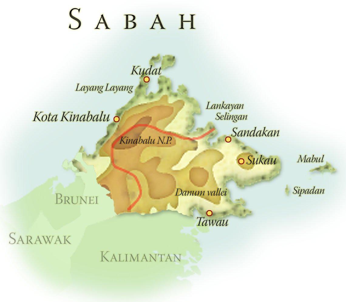 Landkaart Sabah