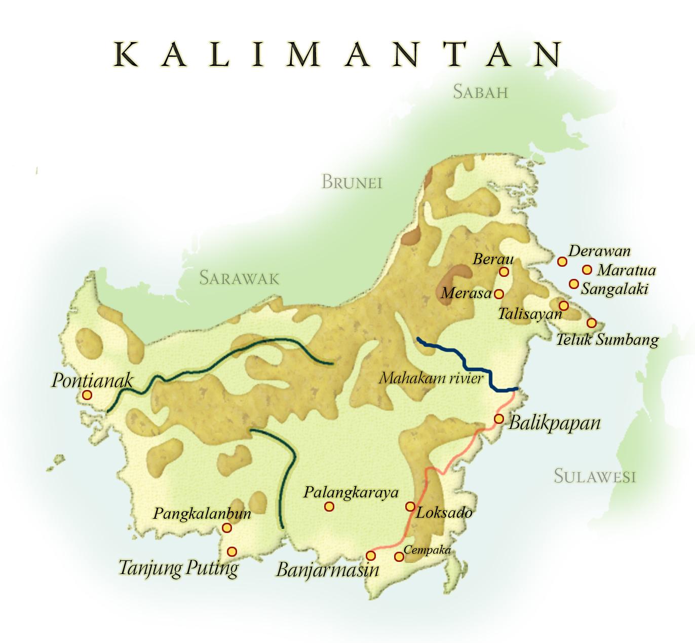 Landkaart Kalimantan, 7 april 2019