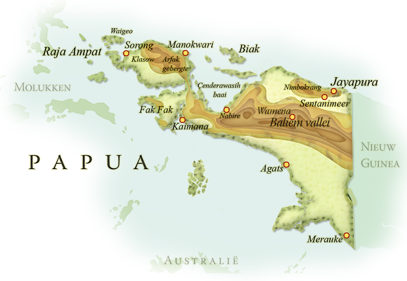 Landkaart Papua