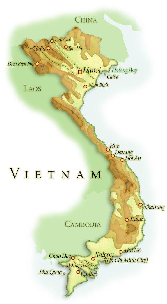 Landkaart Vietnam, december 2013