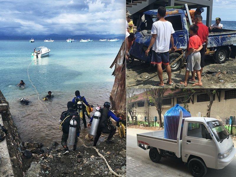 De situatie bij het Prince John Dive Resort op Sulawesi